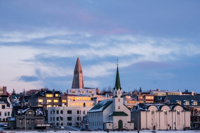 Cityscape of downtown Reykjavik with Hallgrimskirkja in the distance, Reykjavik, Iceland