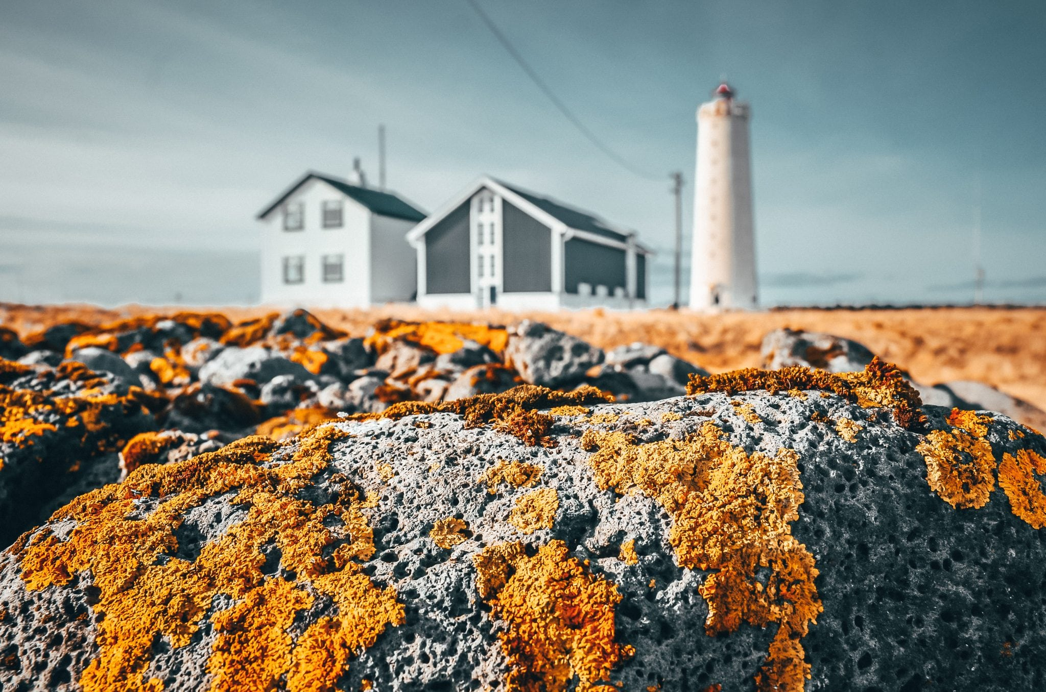 Lighthouse and houses